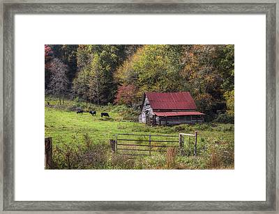 Appalachian Farm Barn Framed Print by Debra and Dave Vanderlaan