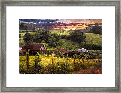 Appalachian Mountain Farm Framed Print by Debra and Dave Vanderlaan