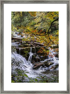Appalachian Mountain Waterfall Framed Print by Debra and Dave Vanderlaan