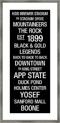 Appalachian State College Town Wall Art Framed Print