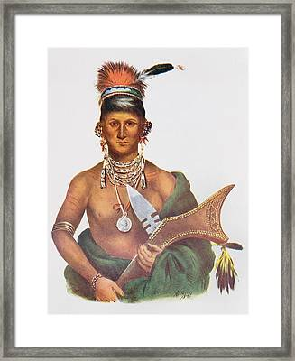 Appanoose, A Sauk Chief, 1837, Illustration From The Indian Tribes Of North America, Vol.2 Framed Print