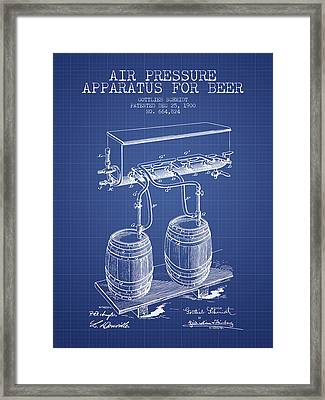 Apparatus For Beer Patent From 1900 - Blueprint Framed Print by Aged Pixel