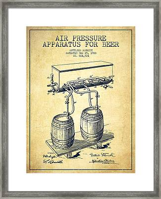 Apparatus For Beer Patent From 1900 - Vintage Framed Print by Aged Pixel