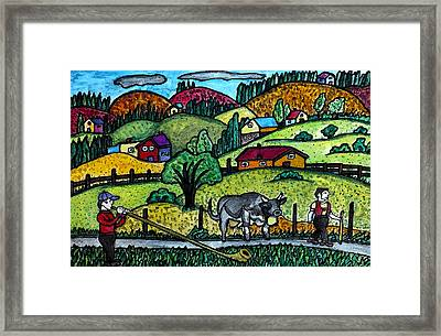 Appenzeller Swiss Horn Player Framed Print by Monica Engeler