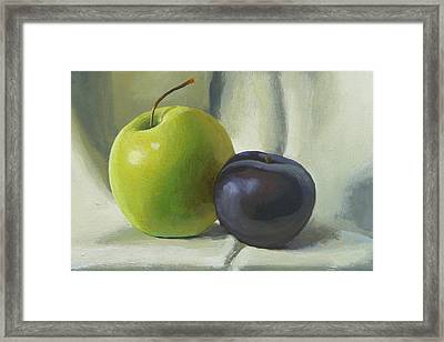 Apple And Plum Framed Print by Peter Orrock