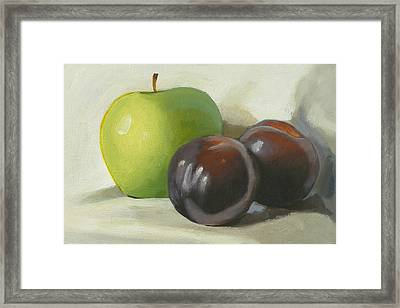 Apple And Plums Framed Print by Peter Orrock