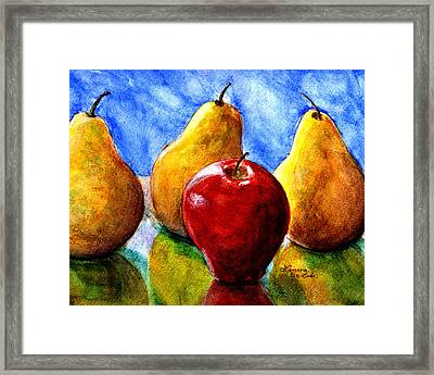 Apple And Three Pears Still Life Framed Print by Lenora  De Lude