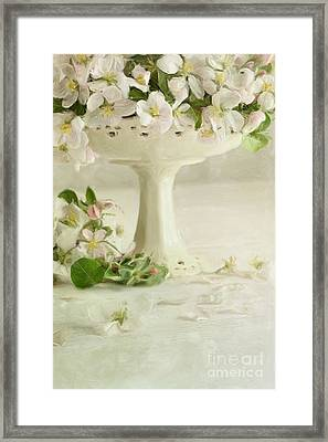 Apple Blossom Flowers In Vase On Table/digital Painting  Framed Print by Sandra Cunningham