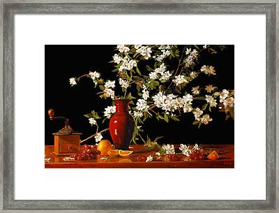 Framed Print featuring the painting Apple Blossum Time by Rick Fitzsimons