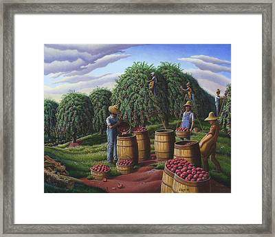 Apple Harvest - Autumn Farmers Orchard Farm Landscape - Folk Art Americana Framed Print by Walt Curlee