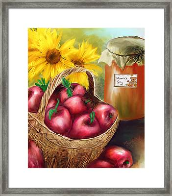 Framed Print featuring the digital art Apple Harvest by Mary Almond