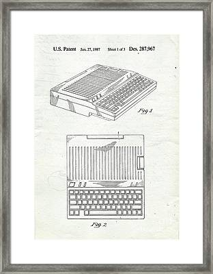Apple IIe Computer Original Patent Framed Print by Edward Fielding