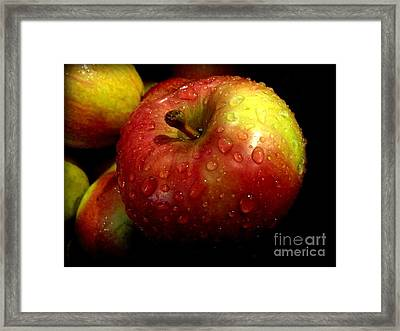 Apple In The Rain Framed Print