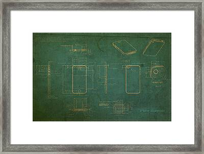 Apple Iphone Vintage Retro Blueprints Plans On Worn Distressed Canvas Framed Print by Design Turnpike