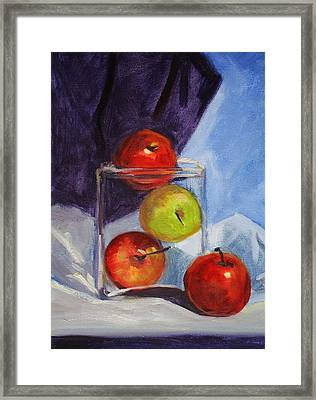 Apple Jar Still Life Painting Framed Print by Nancy Merkle