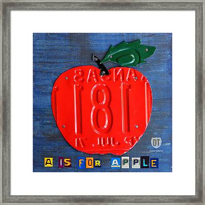 Apple License Plate Art Framed Print by Design Turnpike