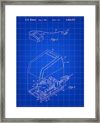 Apple Mouse Patent 1984 - Blue Framed Print by Stephen Younts
