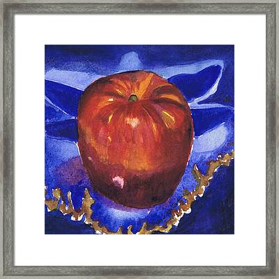 Apple On Blue Tile Framed Print by Susan Herbst