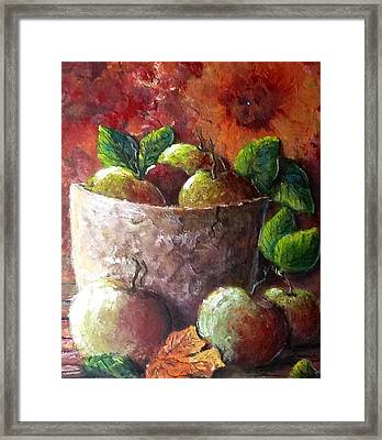 Framed Print featuring the painting Apple Picking Time by Megan Walsh