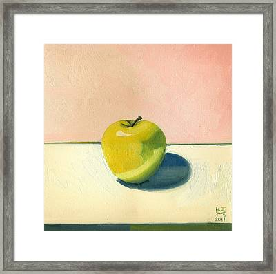 Apple - Pink And White Framed Print