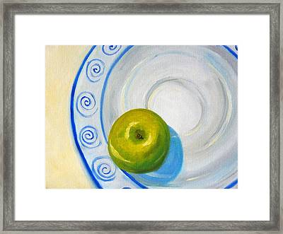 Apple Plate Framed Print by Nancy Merkle