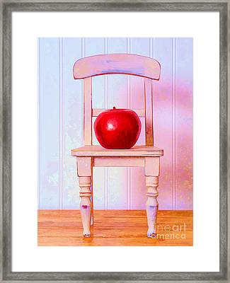 Apple Still Life With Doll Chair Framed Print by Edward Fielding