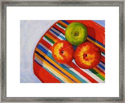 Apple Stripe Framed Print by Nancy Merkle