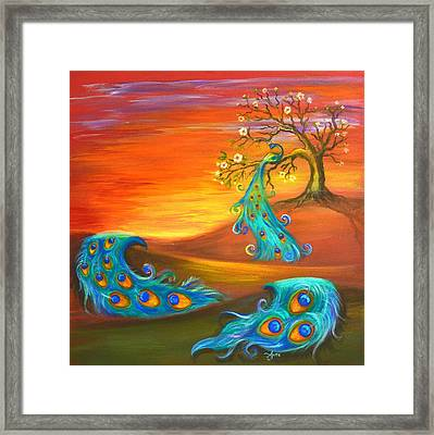 Apple Tree With A Peacock Framed Print