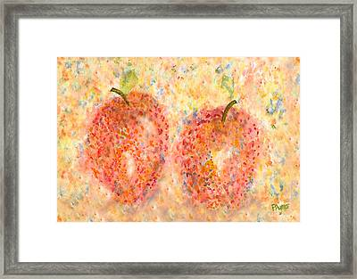 Framed Print featuring the painting Apple Twins by Paula Ayers