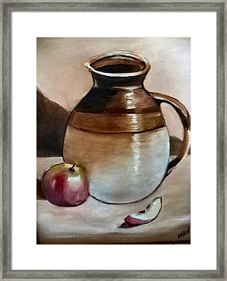 Apple With Ceramic Jug. Framed Print