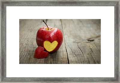Apple With Engraved Heart Framed Print