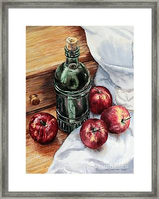 Framed Print featuring the painting Apples And A Bottle Of Liqueur by Joey Agbayani