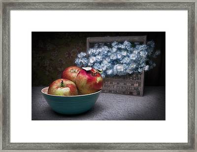 Apples And Flower Basket Still Life Framed Print