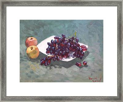 Apples And Grapes Framed Print by Ylli Haruni