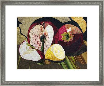 Apples And Lemon Framed Print by Lynda K Boardman