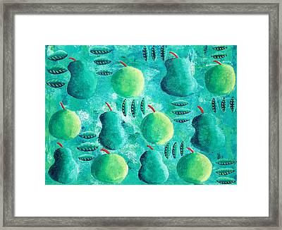 Apples And Pears Framed Print by Julie Nicholls