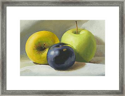 Apples And Plum Framed Print by Peter Orrock