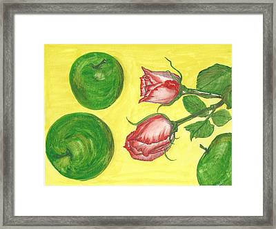 Apples And Roses Framed Print
