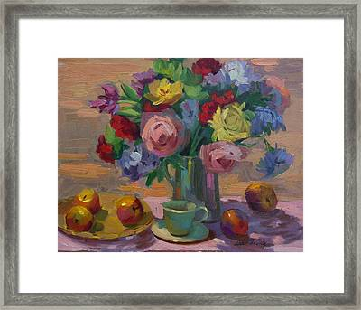 Apples And Roses Plein Air Framed Print by Diane McClary
