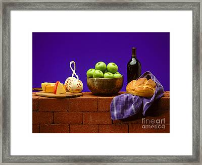 Apples Bread And Cheese Framed Print by Craig Lovell