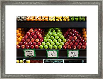Apples For Sale At Grocery Store Framed Print by Panoramic Images
