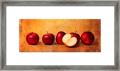 Apples In Red Framed Print