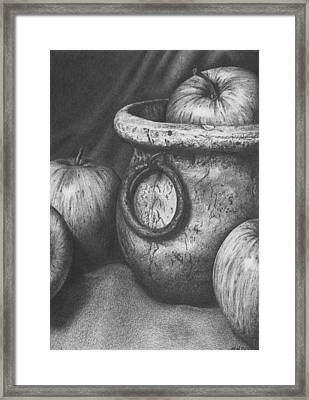 Apples In Stoneware Framed Print by Michelle Harrington
