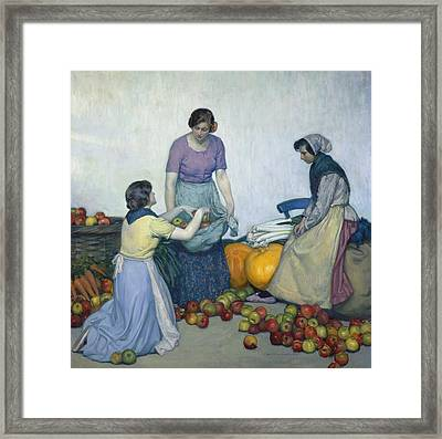 Apples Framed Print by Myron G Barlow