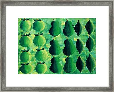 Apples Pears And Limes Framed Print by Julie Nicholls