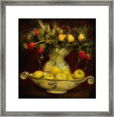 Apples Pears And Tulips Framed Print