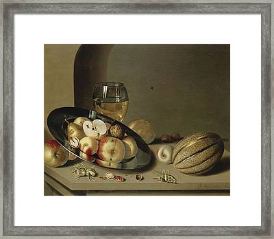 Apples Pears Peaches And Walnuts Framed Print by Ambrosius Bosschaert the Younger
