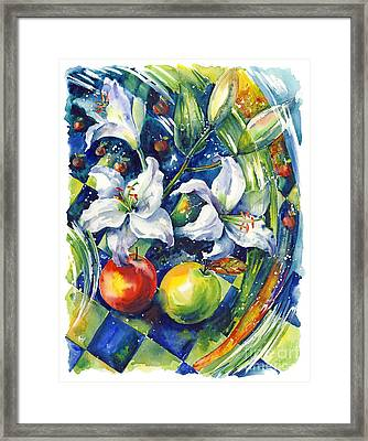 Apples With Lilies Framed Print by Ira Ivanova