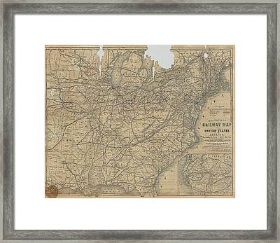 Appleton's Railway Map Of The United States And The Canadas Framed Print by Cody Cookston