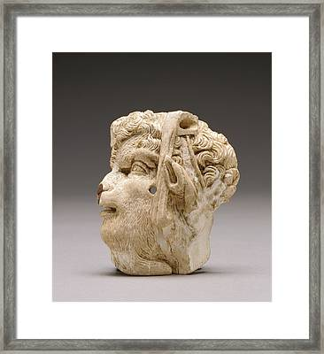 Applique Depicting The Head Of Pan Unknown East Greece Framed Print by Litz Collection